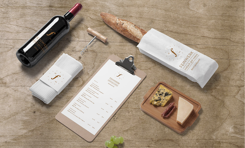 Gebrandete Kommunikationsmittel des Restaurants Feinwerk. Speisekarte und Packaging für das Restaurant Feinwerk.